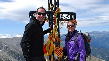 Caroline Twigg and her late husband Iain in the Pyrenees.