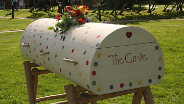 The Curve coffin, made by Wealdon Coffins, a family-run business in Kent, UK