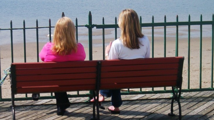 People sitting on a bench