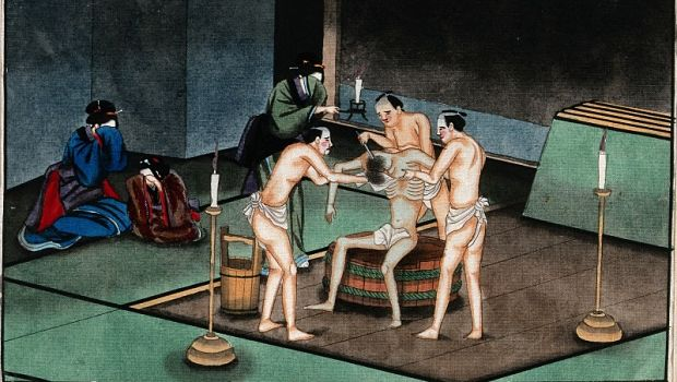 Japanese funeral customs, image from Wellcome Library, London