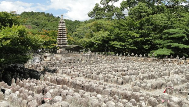 adashino nenbutsuji temple, japan where 8,000 Buddhist statues here placed in memory of those who died without kin.