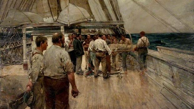 the burial at sea by frank brangwyn, glasgow museums, 1890