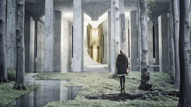 Swedish design for vertical cemetery