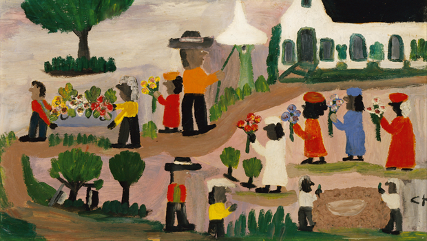 Clementine Hunter's painting Funeral Procession