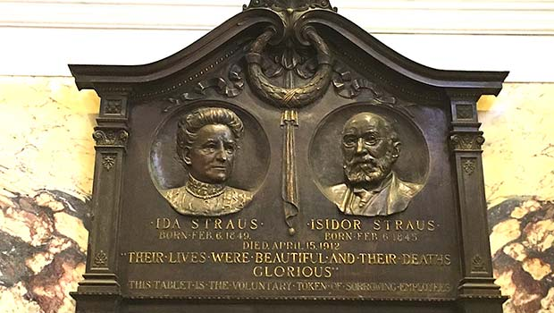 Memorial to Ida and Isidor Straus in Macy's, New York