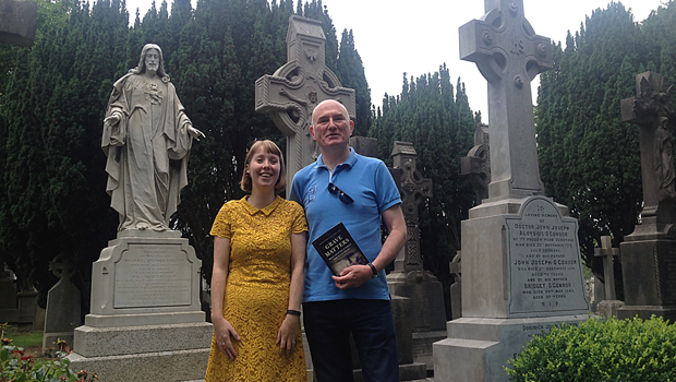 Lisa marie griffith and ciaran wallace at glasnevin cemetery with their book 'Dying Matters'